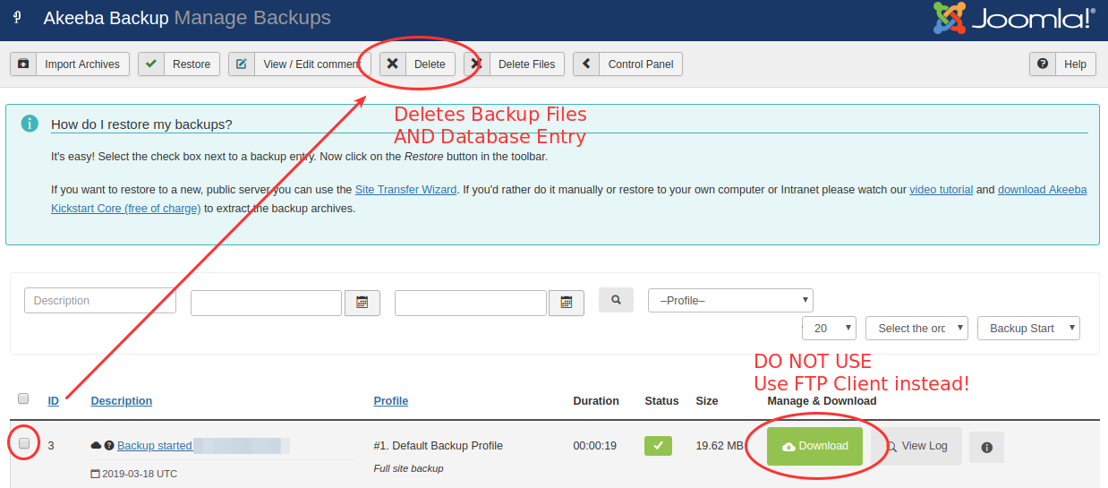 akeeba backup manage