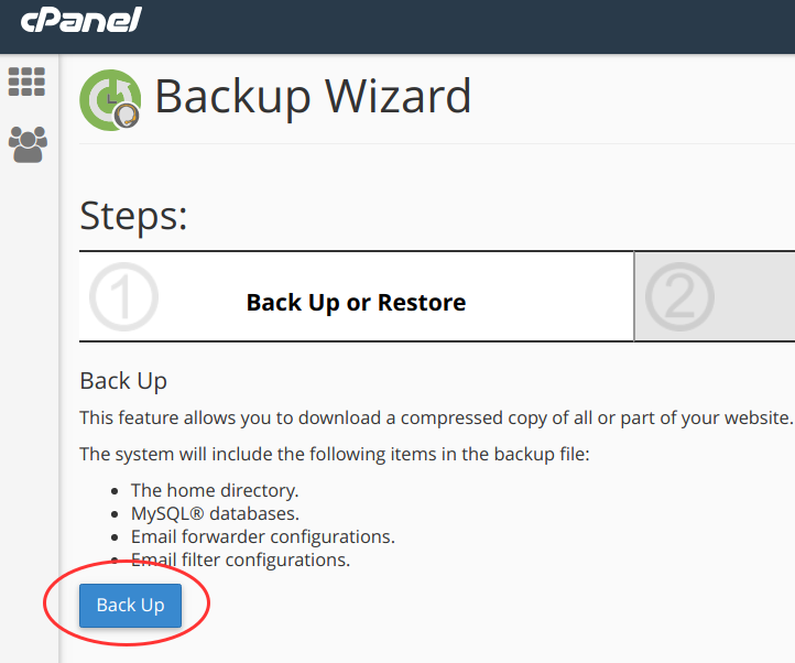 cpanel backup wizard 2 backup