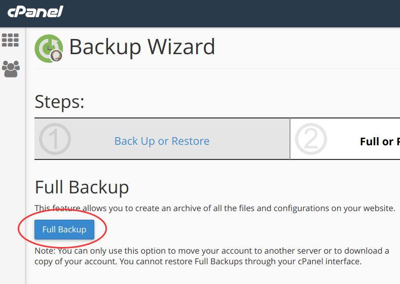 cpanel backup wizard 3 full