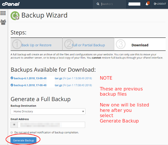 cpanel backup wizard 4 generate