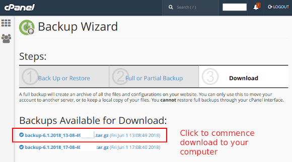 cpanel backup wizard download