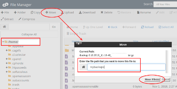 cpanel home move to mybackups