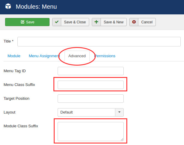 menu module assign style set