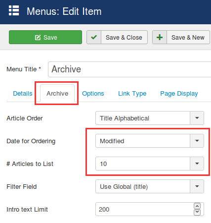 archived articles menu link settings
