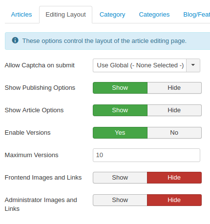 articles options editing layout revised