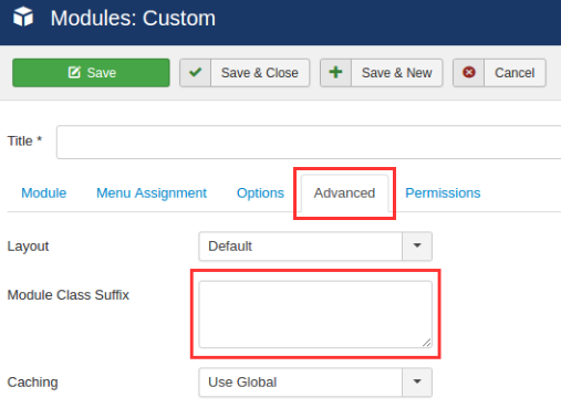 custom module assign style set