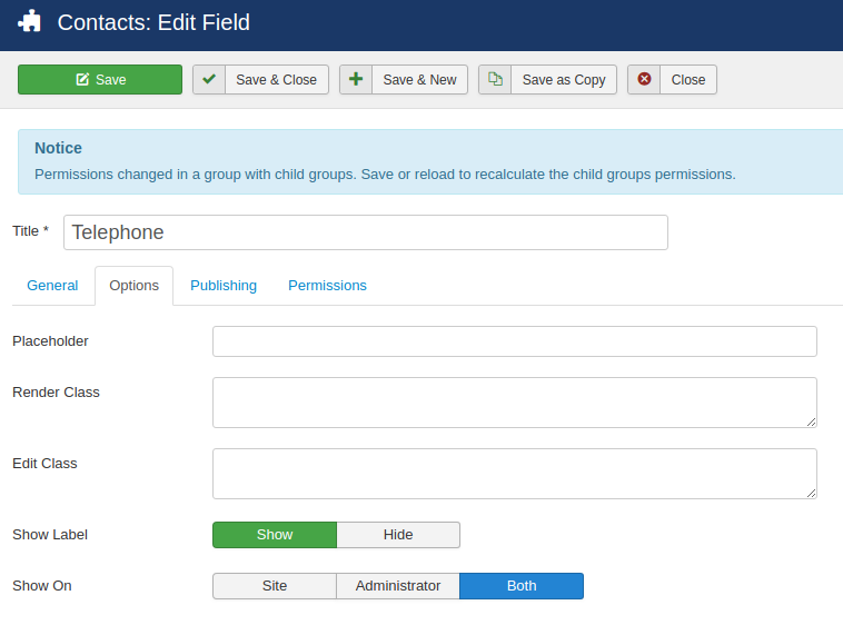 fields contacts 3 options
